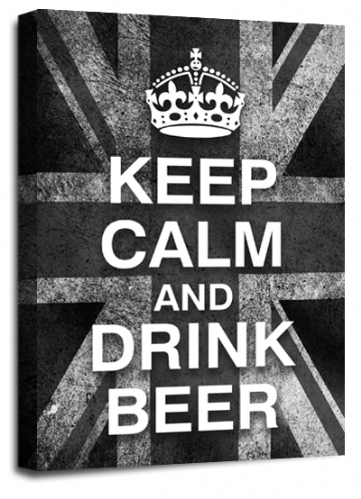 Keep Calm Drink Beer Wall Art Grey White British Flag
